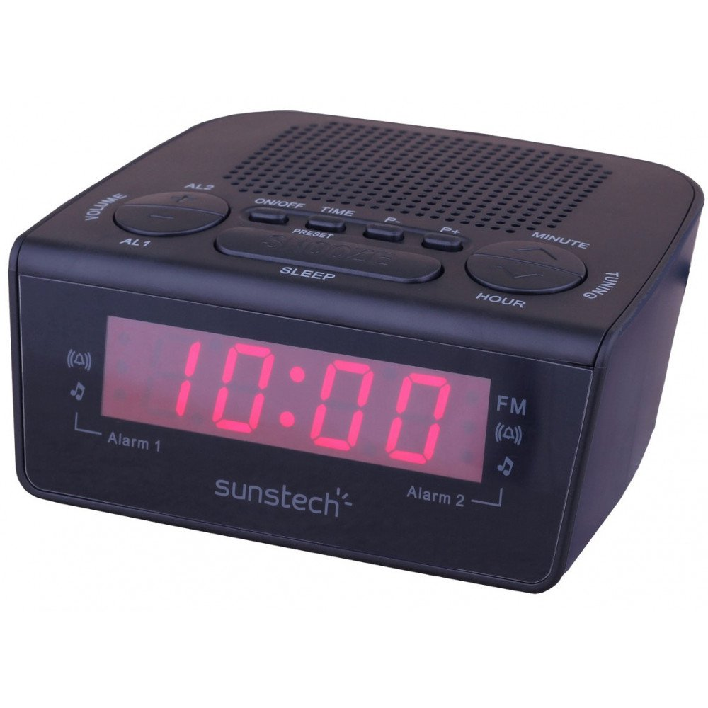 Radio Despertador Sunstech FRD18BK 10 Presintonías Digital